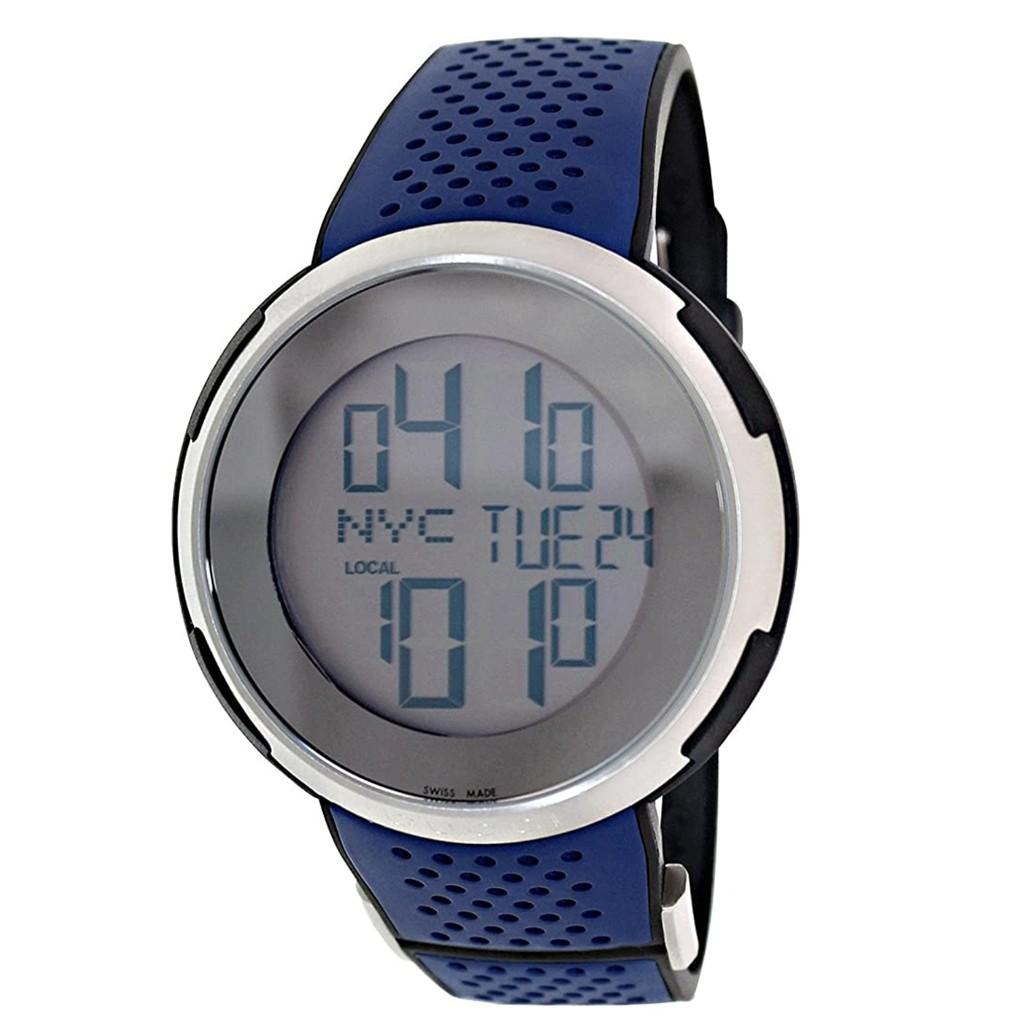 i-GUCCI 二手電子錶科技時尚LCD數位電子錶-藍色/49mm