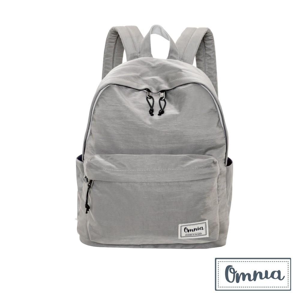 【OMNIA】日系休閒尼龍NB後背包 經典款學生後背包(淺灰)