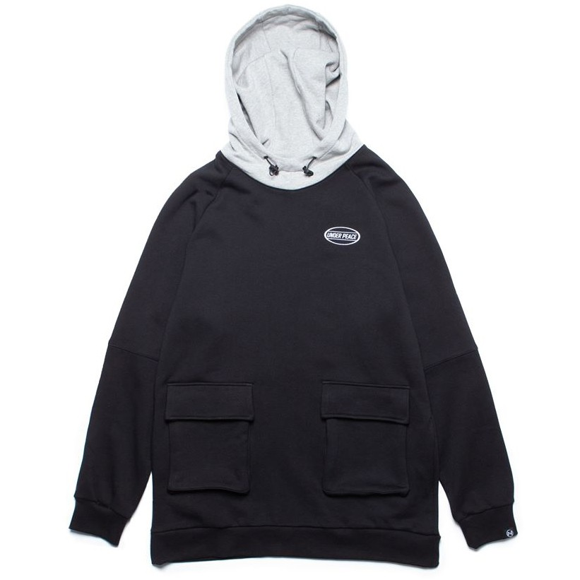 Under peace 19AW BRICK / HIGH NECK HOODED 拚色 帽T (黑色)