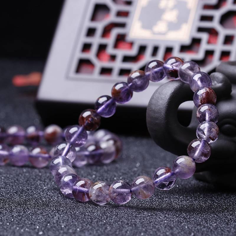 廠供天然水晶極光23紫幽靈紫鈦晶單圈手鍊手串旺愛情首飾飾品