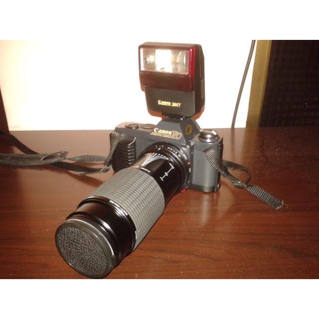 Canon T50-單眼相機+望遠長鏡頭+閃光燈+專用收納包(望遠長鏡頭:Φ52mm;f=80~200mm)(全日本製)