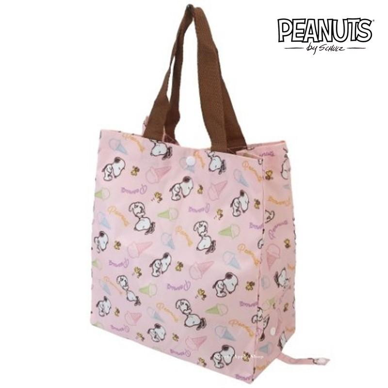 SNOOPY 史努比 【SAS 日本限定】史努比 & 糊塗塌客 冰淇淋版 折疊收納式 環保袋 / 購物袋 / 手提袋