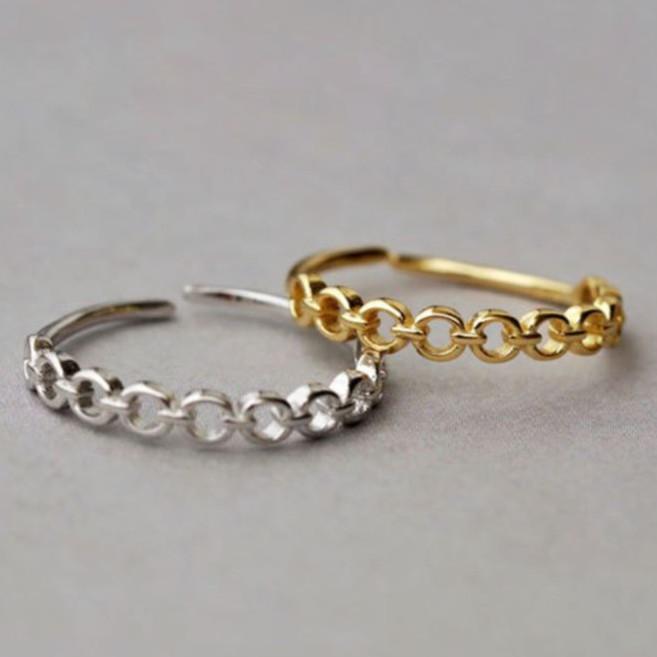 【KELRA】S925個性鏤空鍊條純銀戒指