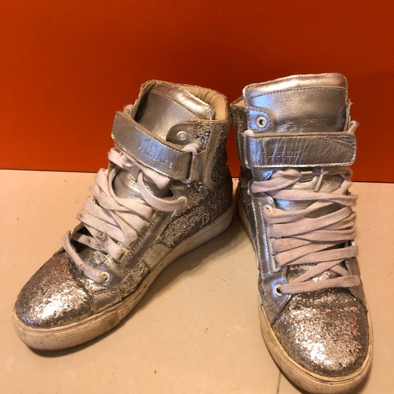 二手 潮流亮面高筒布鞋板鞋 運動休閒鞋 ysl Chanel RV 愛馬仕 tods moschino