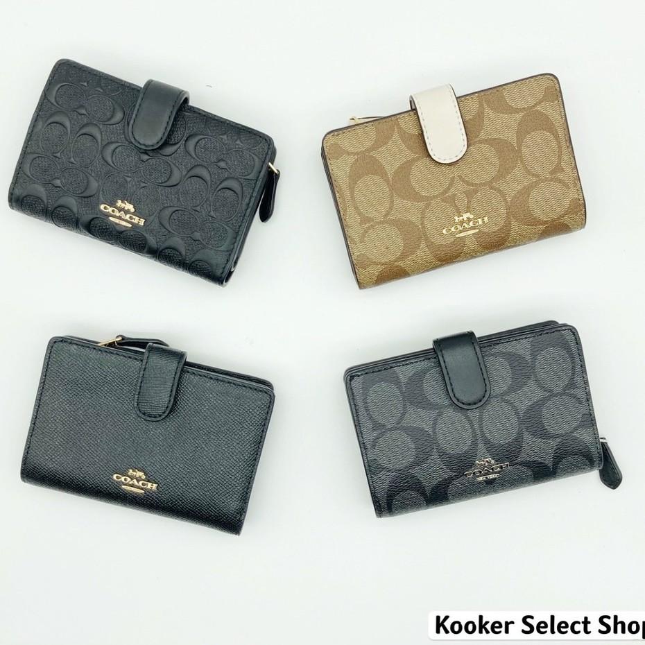 COACH 鈕扣中夾 中夾 防刮 皮革 經典 LOGO 黑色 浮雕 滿版 皮夾 錢包 美國進口【Kooker】