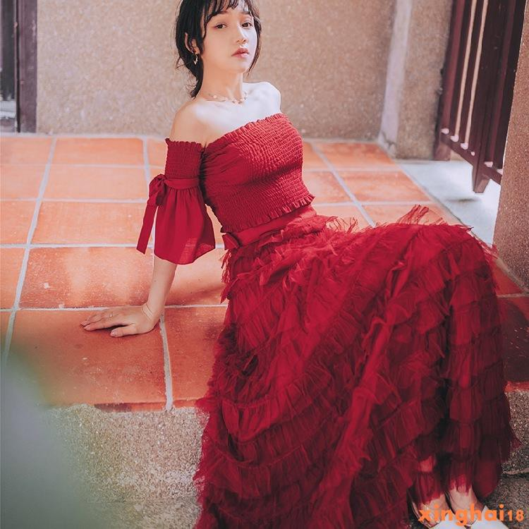 XH 長洋裝 禮服 法式赫本複古紅色桔梗蛋糕裙夏裹胸一字領修身小眾長裙子 新款 宴會敬酒服 婚禮禮服 旅拍91