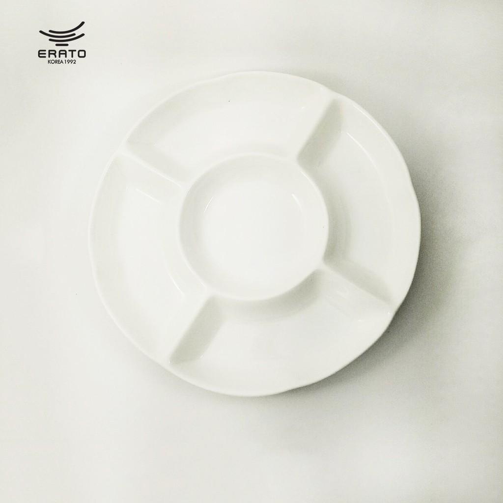 韓國ERATO創意圓形水果拼盤陶瓷餐具多格五果盤分隔甜品冷菜小吃盤子滷味盤12寸圓形五果盤