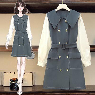洋裝 拼接裙 中大尺碼L-4XL韓版大碼微胖mm法式洋氣顯瘦拼接連身裙4F093-3818.胖胖美依