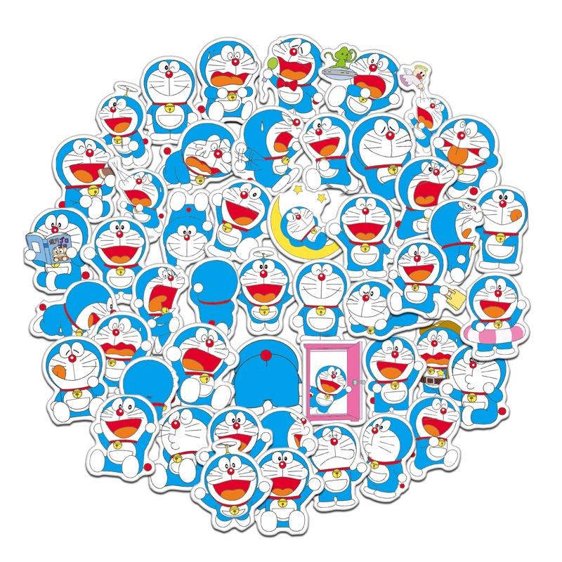 60張入 哆啦A夢 小叮噹 機器貓 動畫卡通貼紙 防水行李箱貼紙 機車貼紙 筆電貼紙