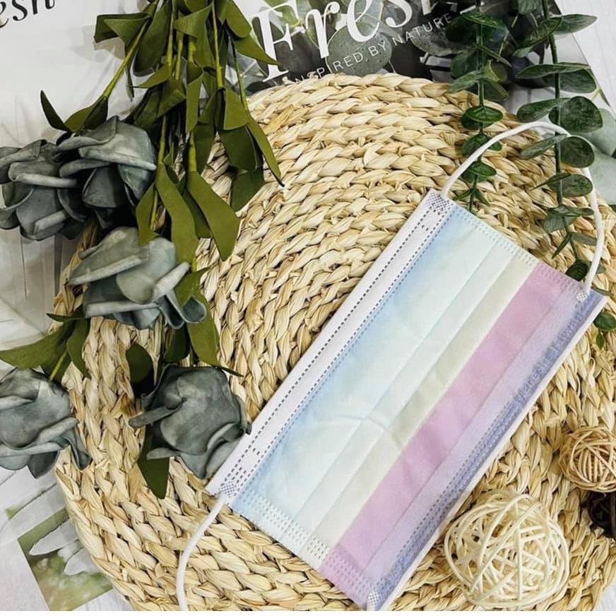 ⚡現貨24H秒出❤️ 馬卡龍糖果色 繽紛 彩虹 令和平面醫療口罩 雙鋼印 50入組 成人口罩 台灣製造國家標準