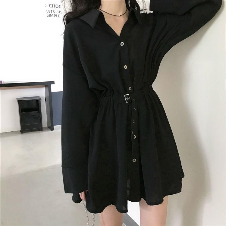 黑色 韓版 輕熟 洋裝 短版 襯衫 赫本風 長袖 設計感 小黑裙 收腰 顯瘦 氣質 腰部有鬆緊