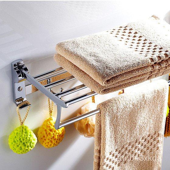 法恩莎免打孔摺疊毛巾架不銹鋼304浴巾架衛生間置物架廁所壁掛架