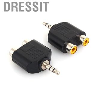 Dressit 3.5毫米公立體聲插孔至2RCA插頭母單聲道音頻