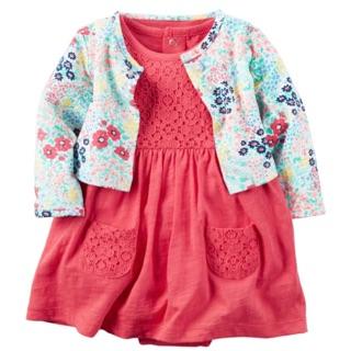 現貨 🇺🇸Carter's正品 女寶寶短袖洋裝+白色碎花小外套二件組 桃園市