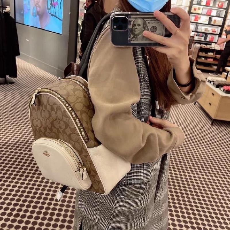 熱銷新品 COACH F5671 中號雙肩包 後背包 休閒旅行背包 大容量 女士書包 旅行包 雙拉鏈後背包 女包 附購證