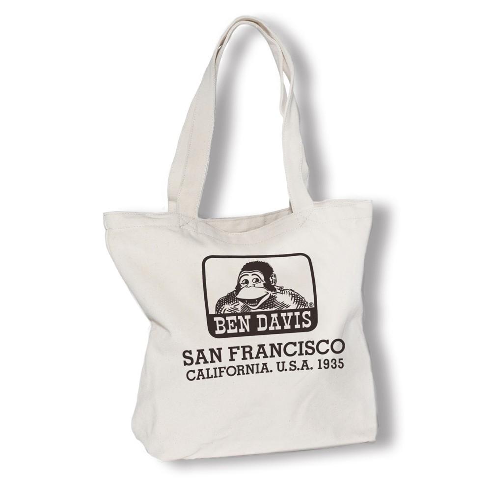 BEN DAVIS TOTE BAG A 米色 LOGO 雙面 猿人 帆布包 托特包 包包