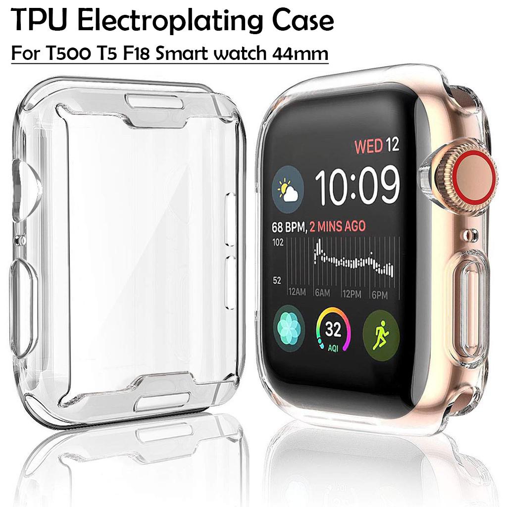 適用於t500智能手錶保護套44mm 用於T500 T5 F18智能手錶TPU電鍍殼軟殼套智能手錶配件