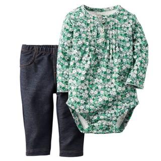 [[W&R]] ((0-24m)) Carter's 二件組綠色小花長袖包屁衣+仿單寧褲 18m 臺中市