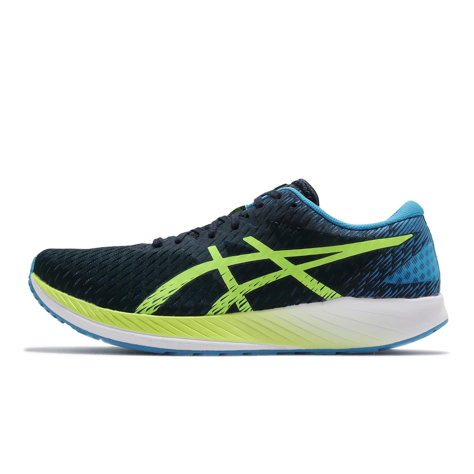 Asics 訓練鞋 Hyper Speed 男 深藍 綠 輕量 透氣 競速 慢跑鞋 【ACS】 1011B025-400