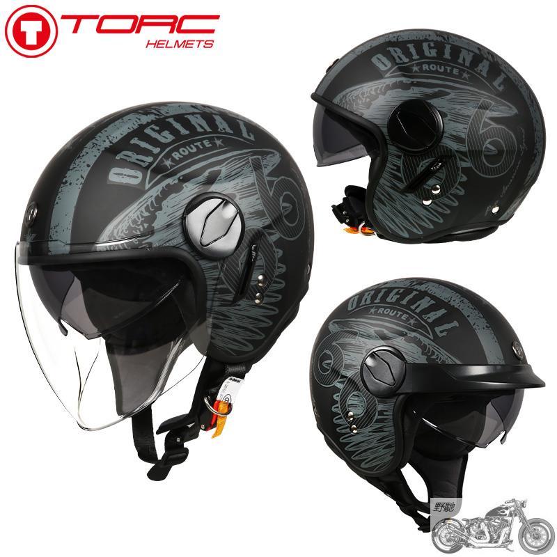 速發 TORC復古機車頭盔男摩托車雙鏡片機車半盔覆式女夏季防曬安全帽