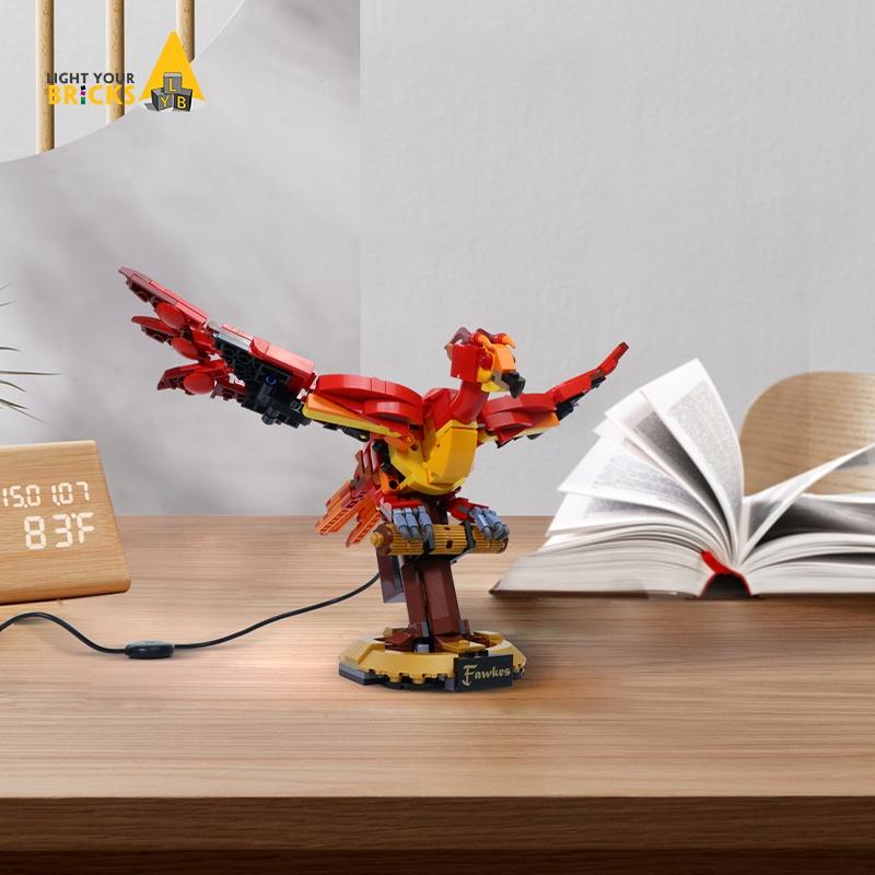 特價LYB適用樂高76394鄧布利多的鳳凰福克斯積木裝飾電動馬達展示架子