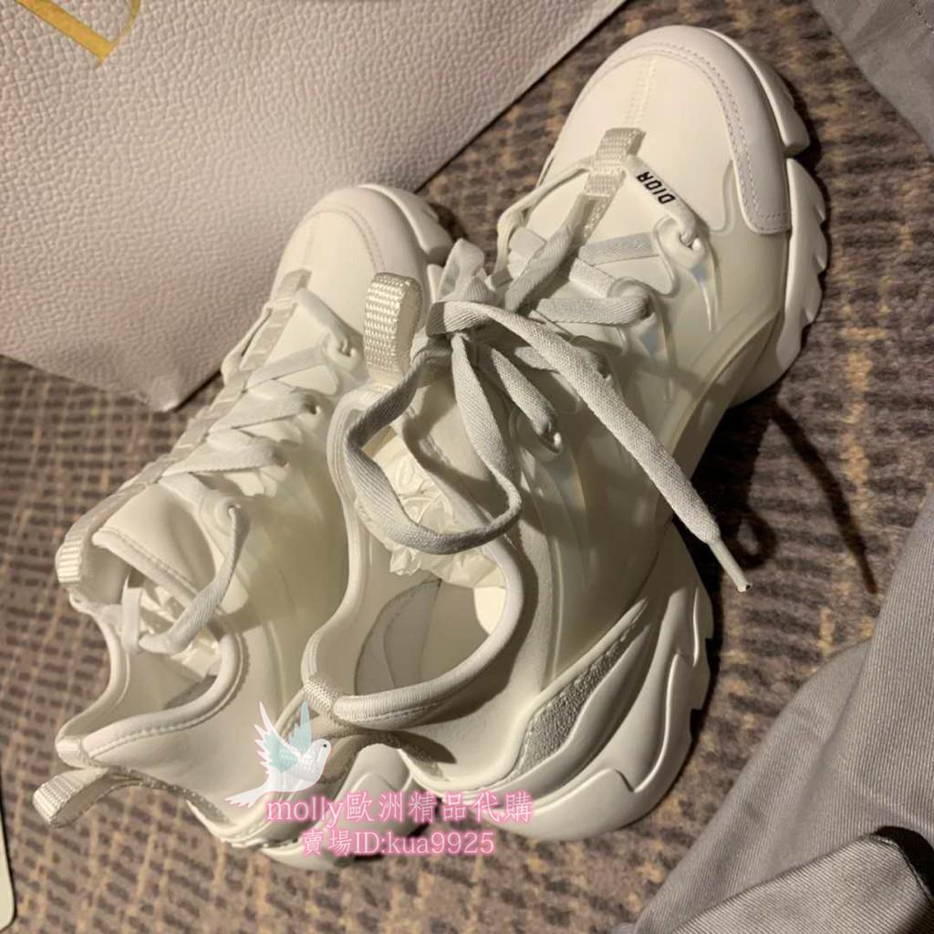 molly歐洲精品代購 DIOR 迪奧 D-CONNECT 女款 老爹鞋 白色 運動鞋 休閒鞋 現貨 專櫃正品