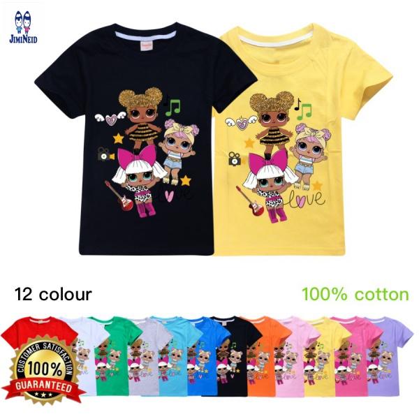 【 Jd 】賣男孩女孩短袖上衣 100% 棉 Lol Surprise T 卹 O 領兒童衣服童裝