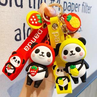 BM03 可愛熊貓汽車鑰匙扣卡通草莓菠蘿鑰匙鏈網紅創意情侶書包掛件批發