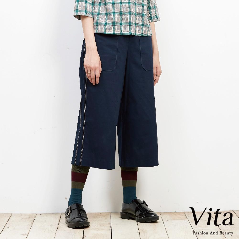 Vita-純棉滾邊設計七分寬褲-藍-9360-63853-70