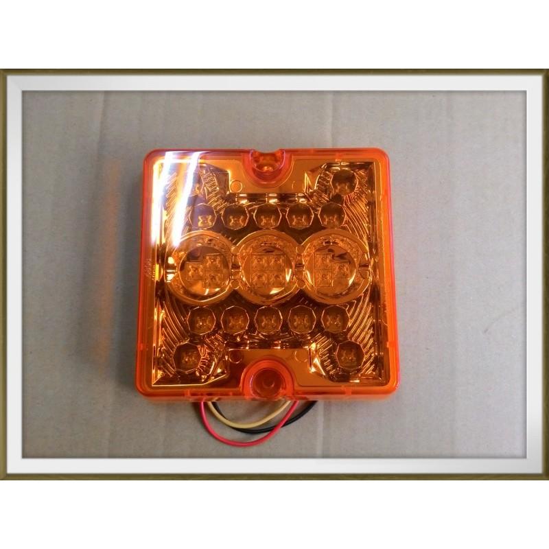 【帝益汽材】6808F 12V或24V LED*24只 後燈、方向燈 黃殼黃光 (三線/恆亮) 適用於貨車、板車、拖車