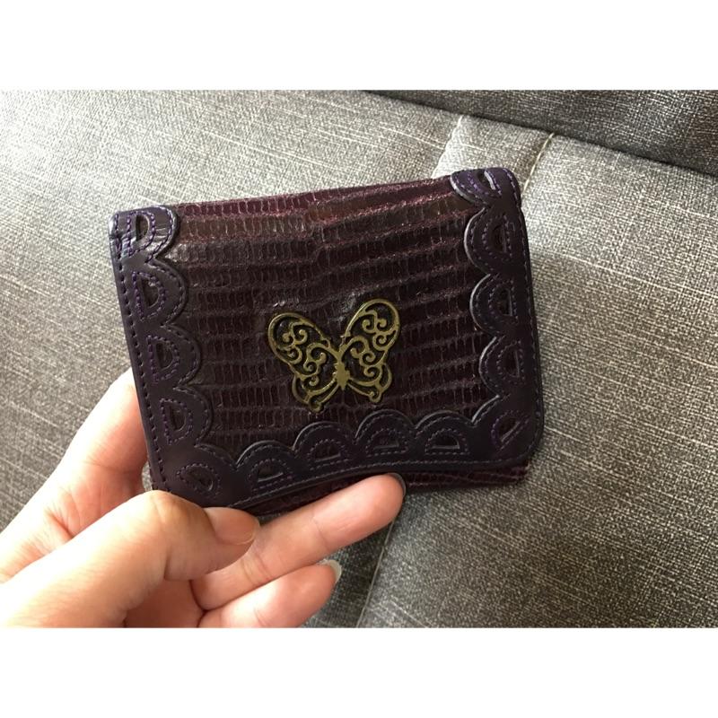 二手 ANNA SUI 紫色 三折短夾 蝴蝶皮夾