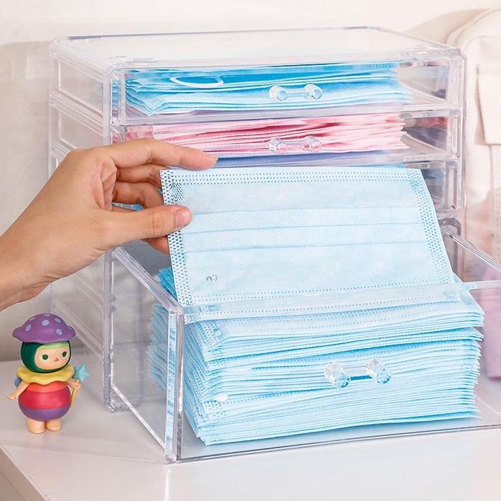 #免運  【口罩收納盒 防疫必備 】口罩收納盒兒童學生家用透明整理箱桌面裝口罩盒子專用抽屜置物柜