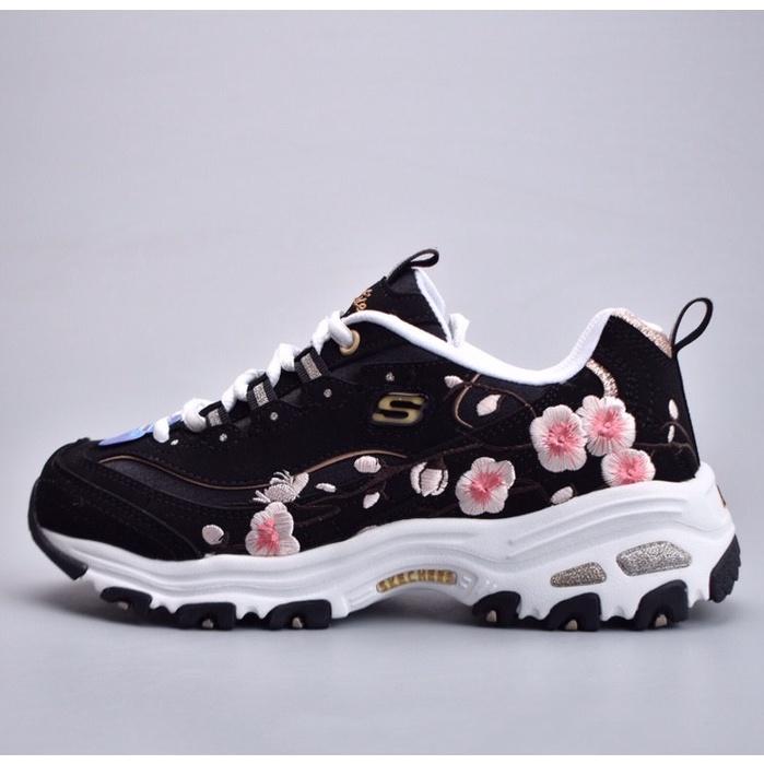 Skechers 花卉刺繡 新款 女鞋 斯凱奇 厚底 老爹鞋 時尚 運動鞋 慢跑鞋 輕便 休閑