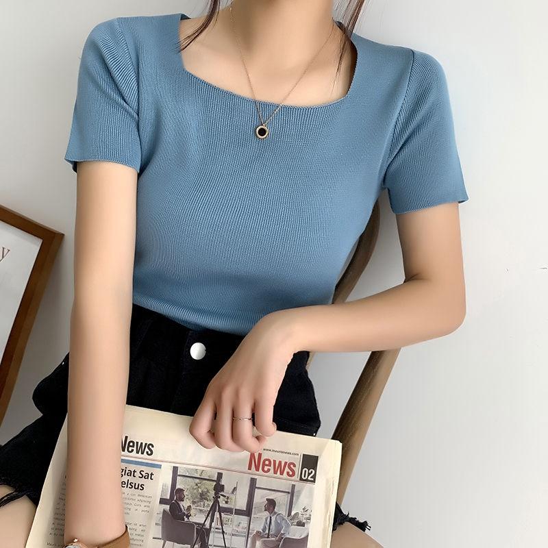 [現貨] 針織衫純色打底衫女裝 夏季露鎖骨方領短袖T恤 彈力修身針織T恤 顯瘦百搭學生上衣