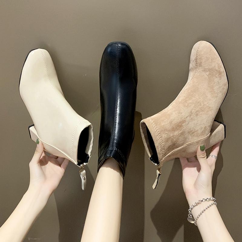 ✨女靴✨馬丁靴✨裸靴✨高跟短靴女2020秋冬季新款韓版百搭絨面ins英倫風瘦瘦靴粗跟皮靴 百搭 網紅 情侶