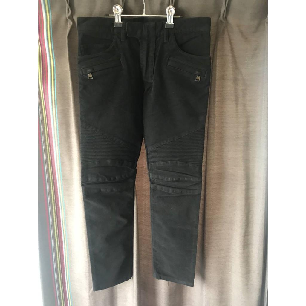 Balmain homme 側邊線條黑色機車牛仔褲