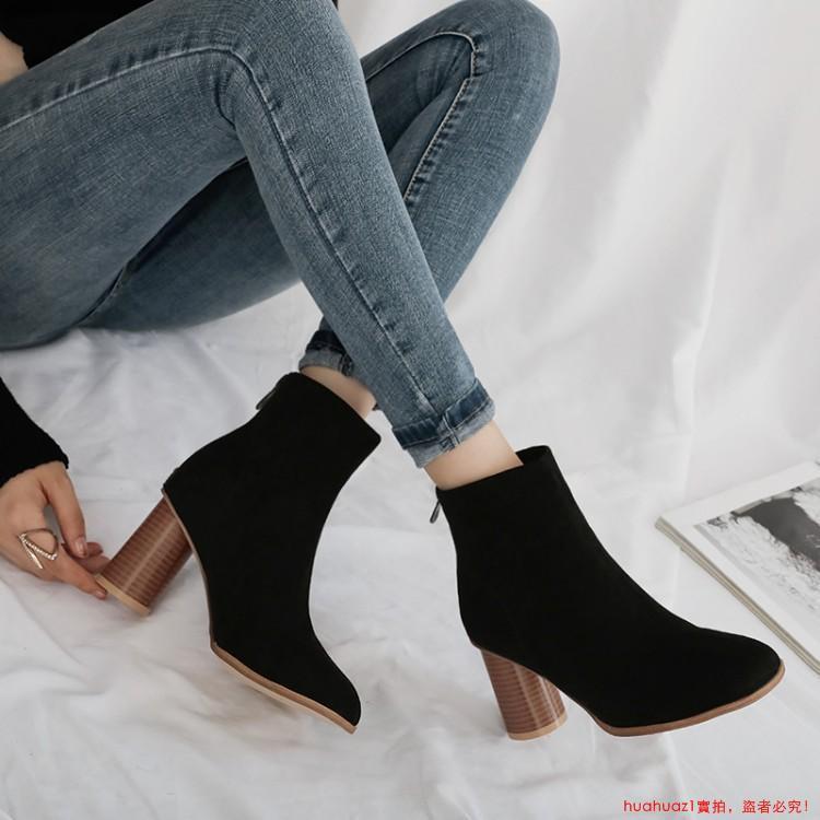 ♥舒適不累腳♥粗跟小短靴女踝靴2019新款秋冬網紅靴高跟彈力靴瘦瘦靴百搭潮