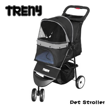 【TRENY直營】TRENY 快速收合 高級寵物推車-灰 附杯架跟置物籃 狗推車 貓推車 外出旅行 YB501-G