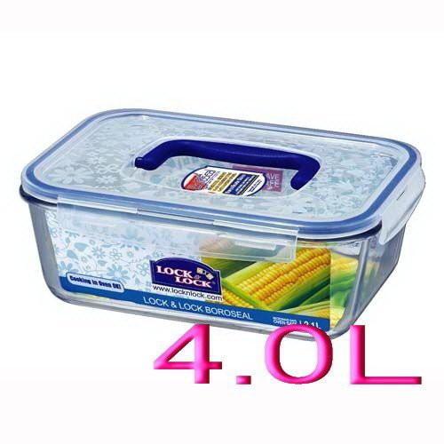 ❤Apple❤樂扣四面環扣玻璃便當保鮮盒-長方型4.0L附把手