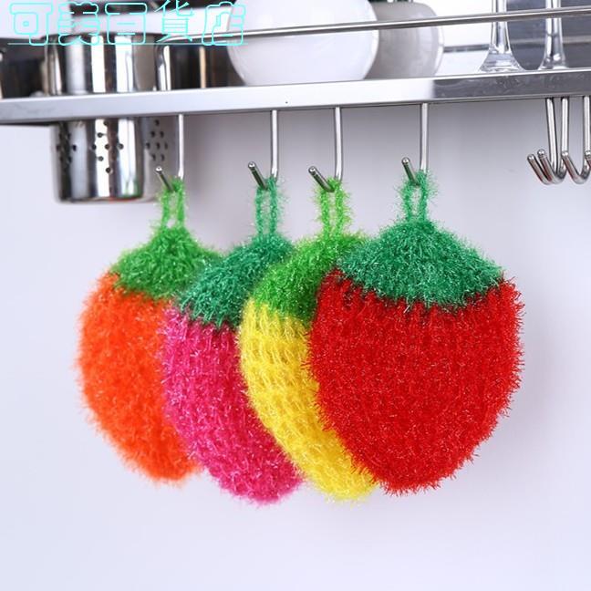 韓國亞克力 手工編織 不沾油 草莓洗碗巾 百潔布 洗碗布 廚房抹布 家務好幫手 輕鬆去污 可美百貨店
