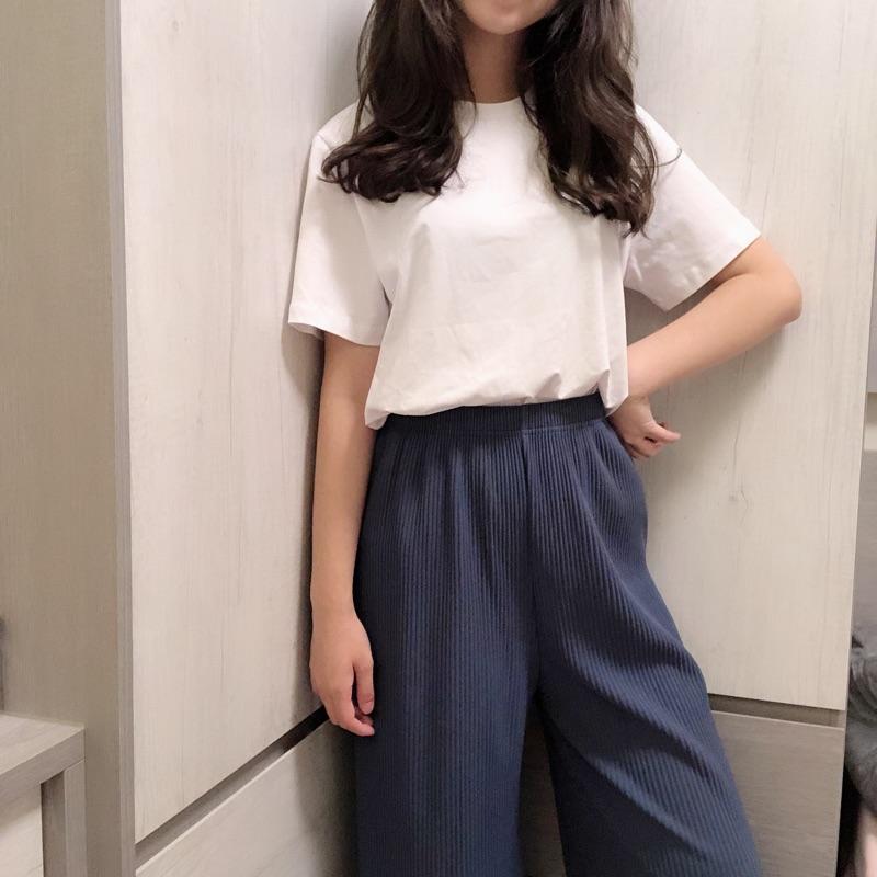 坑條長腿寬褲(全新)