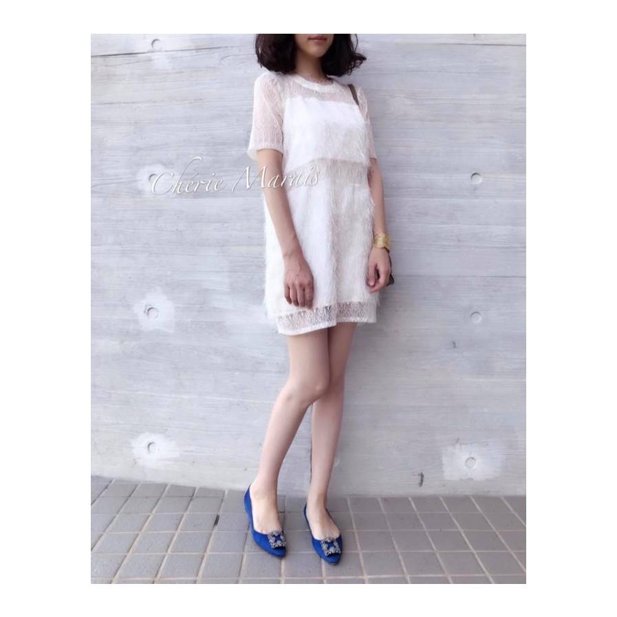 【轉賣Chérie Marais】羽毛飄飄雪紡洋裝『奶油白』cherie marais