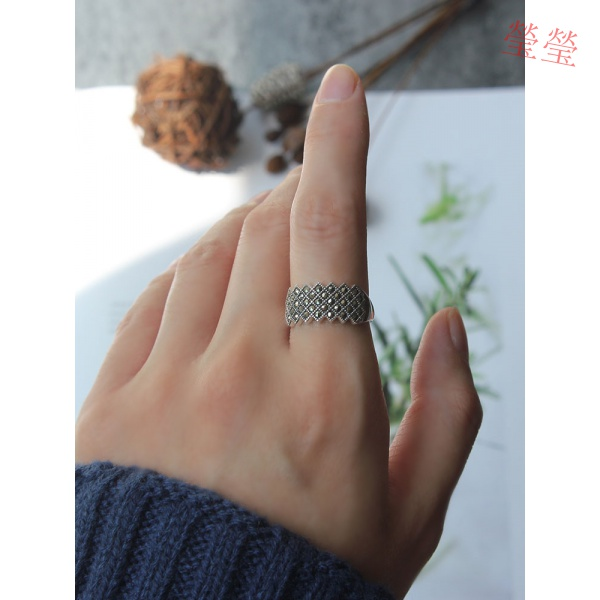 925純銀泰銀韓版簡約寬版指環女復古時尚鑲鑽戒指開口食指個性潮瑩瑩