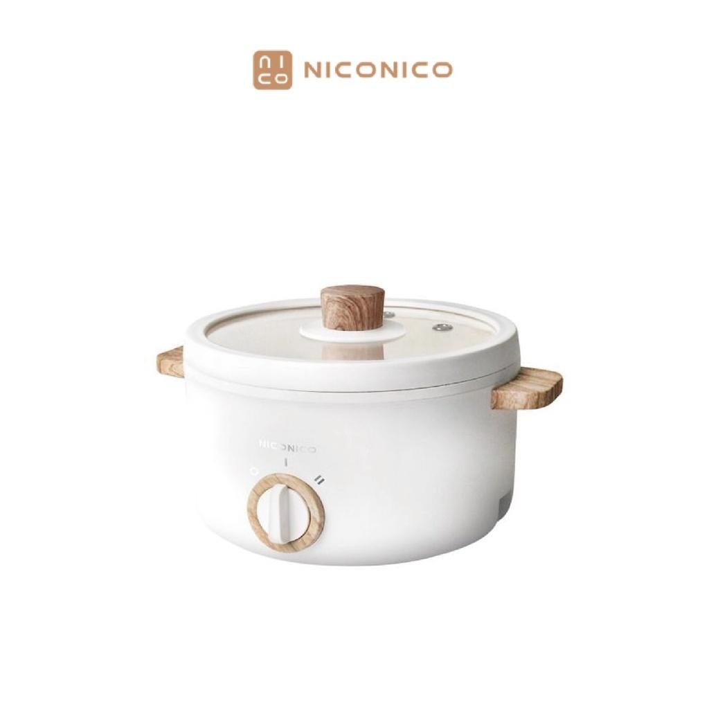 NICONICO 2.7L日式美型陶瓷料理鍋 不沾鍋塗層 2檔火力調整 多種烹調方式 透明玻璃鍋蓋設計 NI-GP932