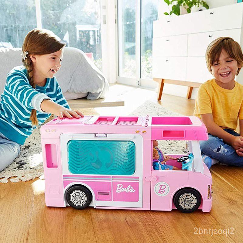 【可可  芭比娃娃】芭比娃娃夢想房車套裝大禮盒屋超大女孩公主玩具露營車過家家