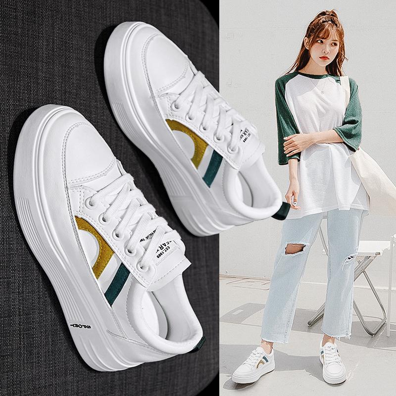 林鹿 小白鞋女皮面2020秋季新款單鞋百搭運動休閒板鞋厚底增高女鞋白鞋