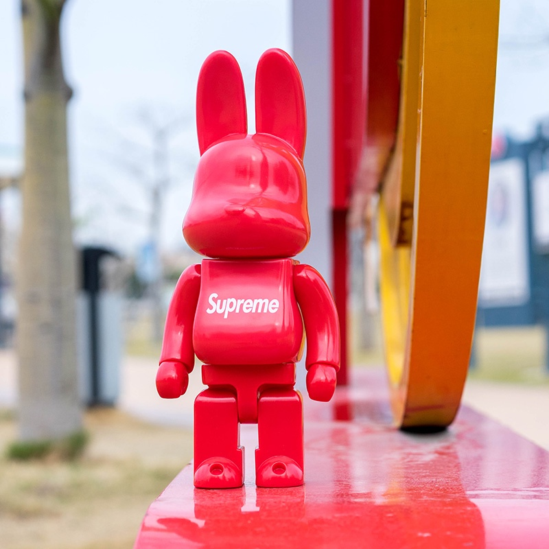 潮玩模型Bearbrick暴力熊兔子積木熊supreme手辦公仔模型擺件裝飾 暴力熊 bearbrick 模型