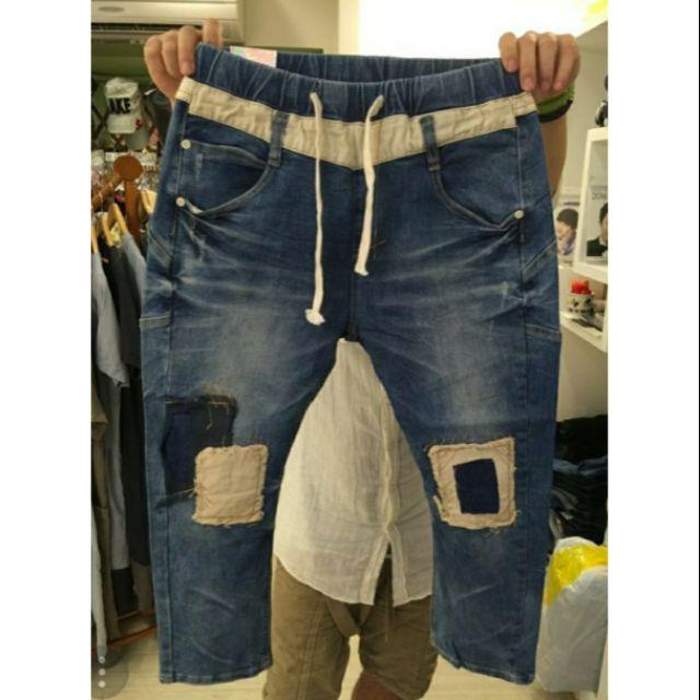 【檸檬樹雜貨屋】全新 正韓 YANU 鬆緊腰撞色膝蓋補丁彈性牛仔褲