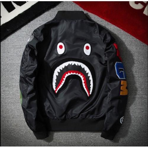 日本拉鍊 Aape 夾克男士 Bape 鯊魚頭 Ma1 陸軍飛行員外套迷彩