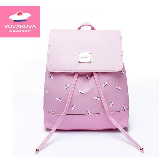 VOVAROVA空氣包-翻蓋束口後背包-French Pom Pom- Pink